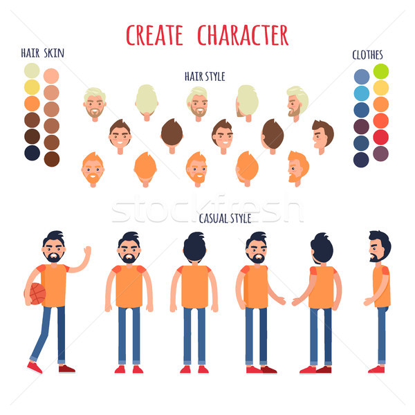 Create Character Vector Banner in Casual Style Stock photo © robuart