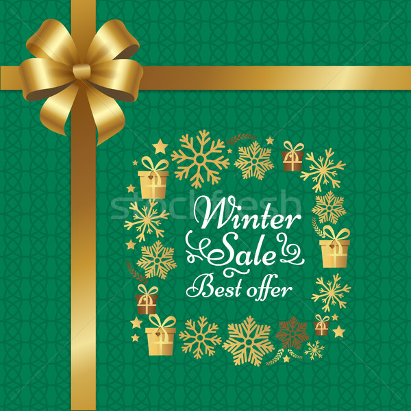 Winter Sale Best Offer Poster with Gift Bow Vector Stock photo © robuart