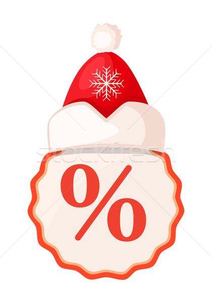 Round Tang with Percent Sign Inside and Santa Hat Stock photo © robuart