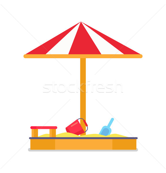 Sandbox and Umbrella Striped Tent with Sand Vector Stock photo © robuart