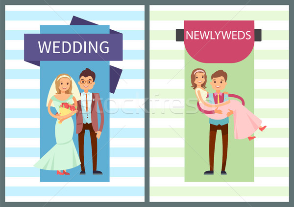 Wedding and Newlyweds Set Vector Illustration Stock photo © robuart