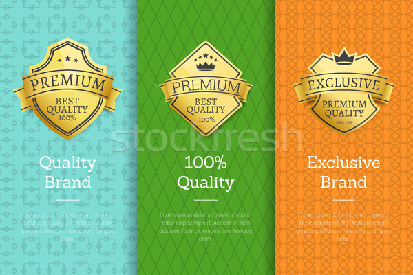 Brand 100 Quality Exclusive Golden Best Labels Stock photo © robuart