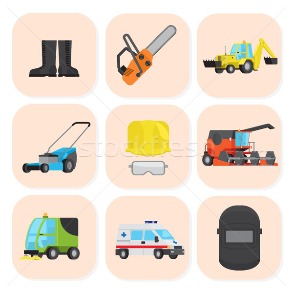 Industrial Equipment and Special Machine Icons Set Stock photo © robuart