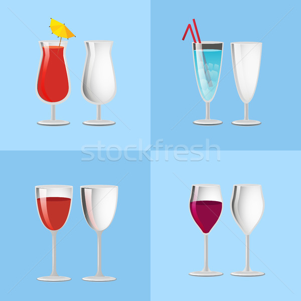 Set Refreshing Cocktails Empty Transparent Glasses Stock photo © robuart