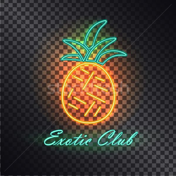 экзотический клуба ярко неоновых ананаса изолированный Сток-фото © robuart