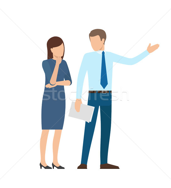 People at Work Business Poster Vector Illustration Stock photo © robuart