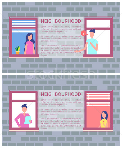 Sąsiedztwo plakat kopia przestrzeń tekst murem otwarte Zdjęcia stock © robuart