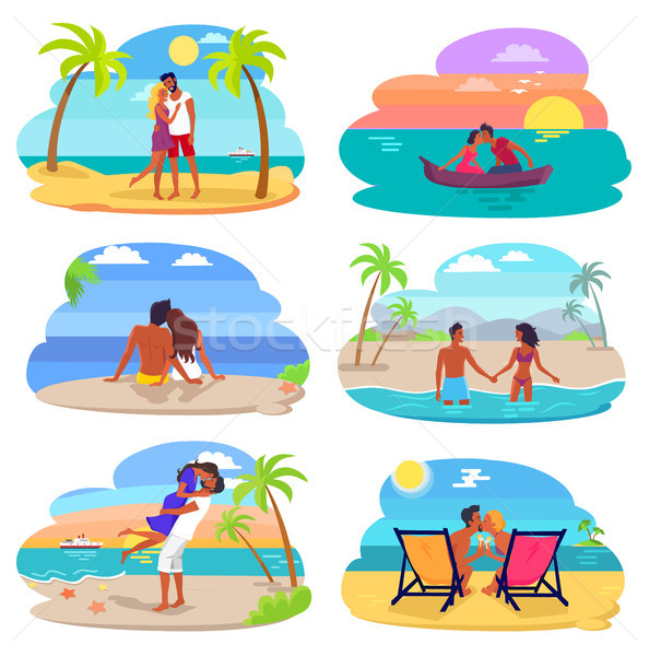 Casais amor beira-mar conjunto coleção pessoas felizes Foto stock © robuart