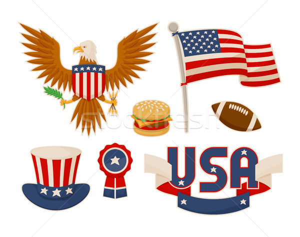 Stock fotó: Különböző · amerikai · szimbólumok · vektor · szett · illusztráció