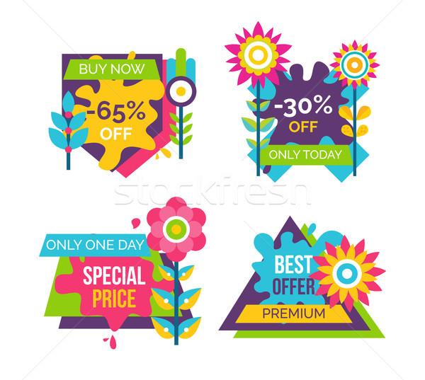 Kup teraz sprzedaży naklejki etykiety zestaw Zdjęcia stock © robuart