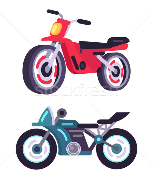 Modern Sportive Motorbikes in Red and Blue Corpuses Stock photo © robuart