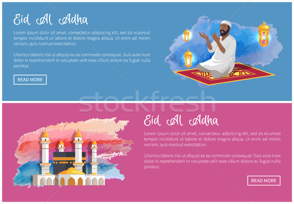 Eid Al Adha Web Banners with Arab Man and Mosque Stock photo © robuart