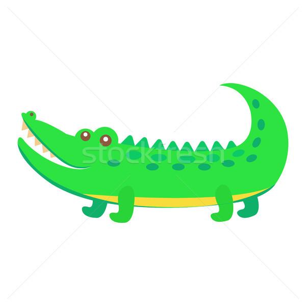 Foto stock: Bonitinho · crocodilo · desenho · animado · vetor · adesivo · ícone