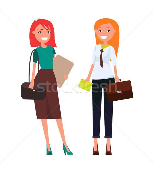 Colleagues Elegant Businesswomen Redhead Girls Stock photo © robuart