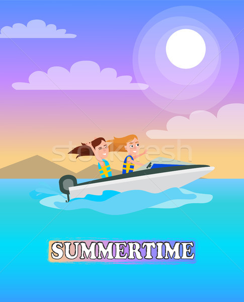 Zomertijd poster spelevaren activiteit zomer vector Stockfoto © robuart