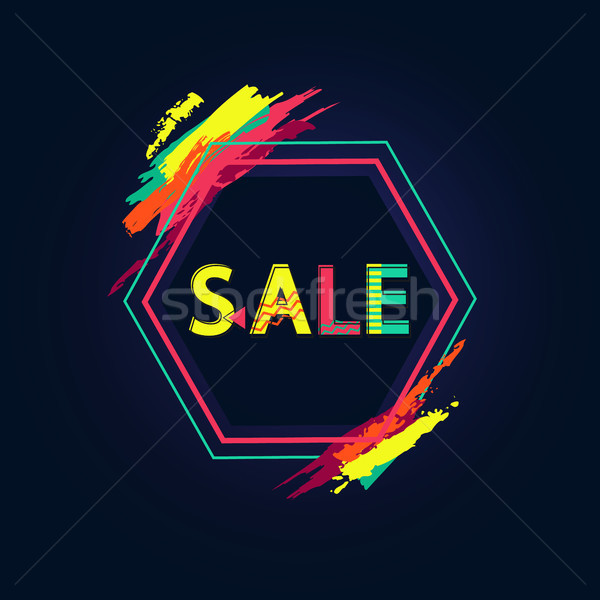 Sale Poster with Big Sign and Bright Paint Touches Stock photo © robuart