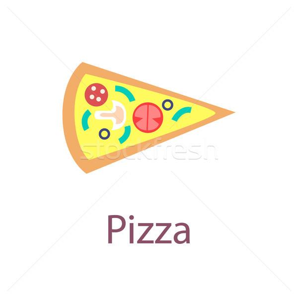 Pizza slice poster opschrift heerlijk voedsel Stockfoto © robuart