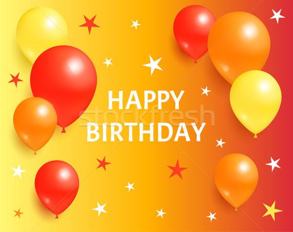 Joyeux anniversaire ballons star étoiles orange Photo stock © robuart