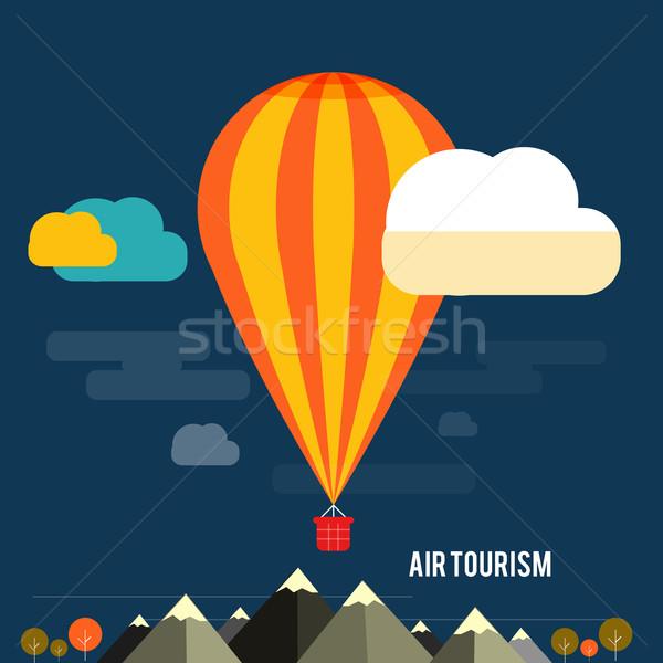 Globo de aire caliente vuelo montana iconos planificación Foto stock © robuart