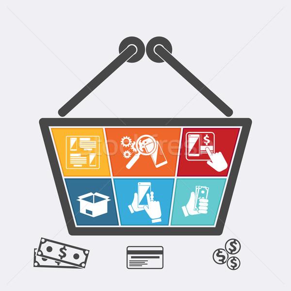 Bevásárlókosár ikonok online ekereskedelem bolt infografika Stock fotó © robuart