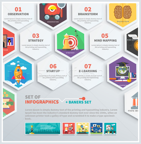 Icons infographic of headwork, strategy, start up Stock photo © robuart
