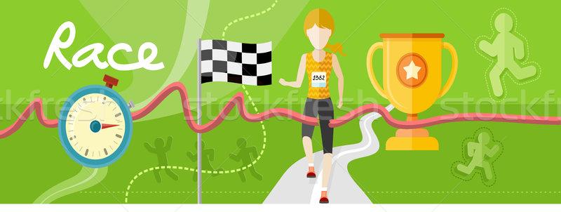Nyerő atléta keresztek célszalag női sportos Stock fotó © robuart