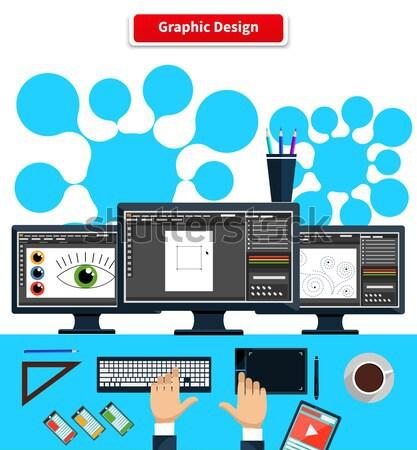 Design graphique designer outils concept logiciels design Photo stock © robuart