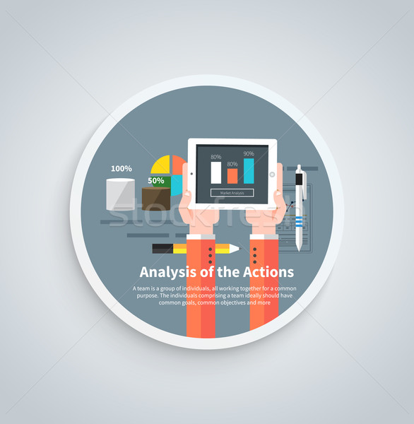 Analysis Actions Concept on Round Banner Stock photo © robuart