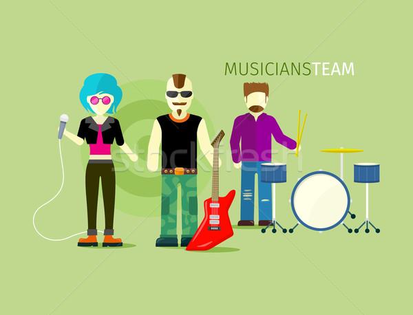 Zenészek csapat emberek csoport stílus zene Stock fotó © robuart