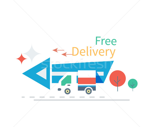 Fast Free Delivery Concept Icon Flat Design Stock photo © robuart
