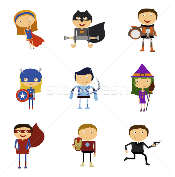 Set of Super Heroes Man and Woman Stock photo © robuart