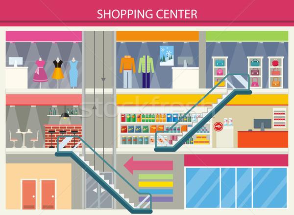 Vásárlás központ terv nagy ruházat üzletek Stock fotó © robuart