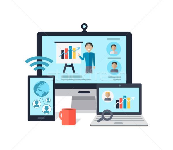 Business online Seminar Ausbildung Personal Einsatzbesprechung Stock foto © robuart