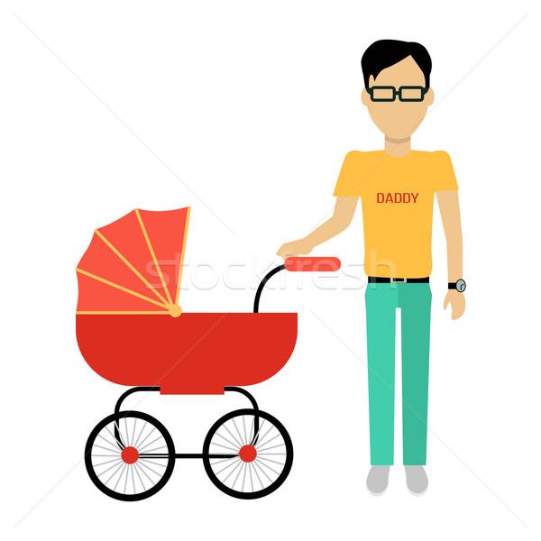 Apa babakocsi szalag terv szülő sétál Stock fotó © robuart