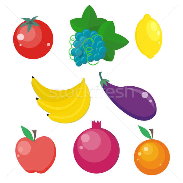 Set of Fruits and Vegetables Vector Illustrations. Stock photo © robuart