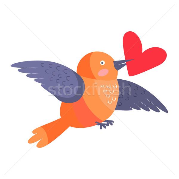 Kuş kalp gaga uçan yalıtılmış beyaz Stok fotoğraf © robuart