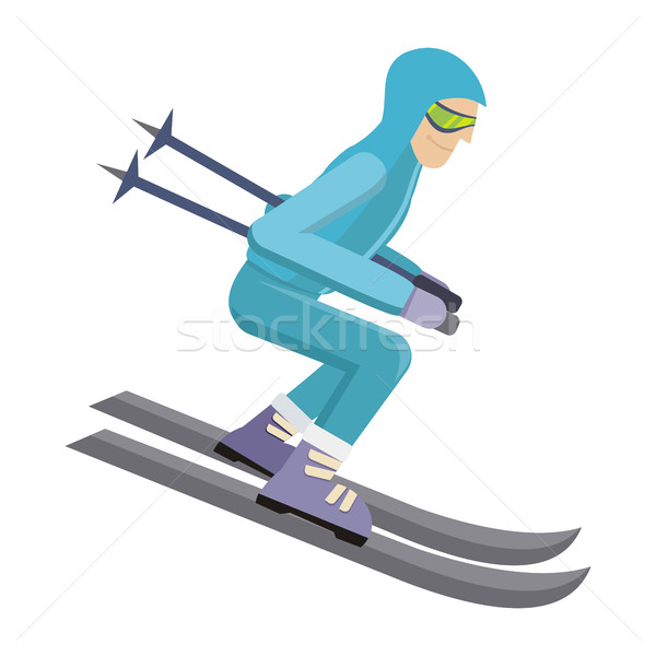 Stock photo: Skier Isolated on White. Person Skiing. Vector