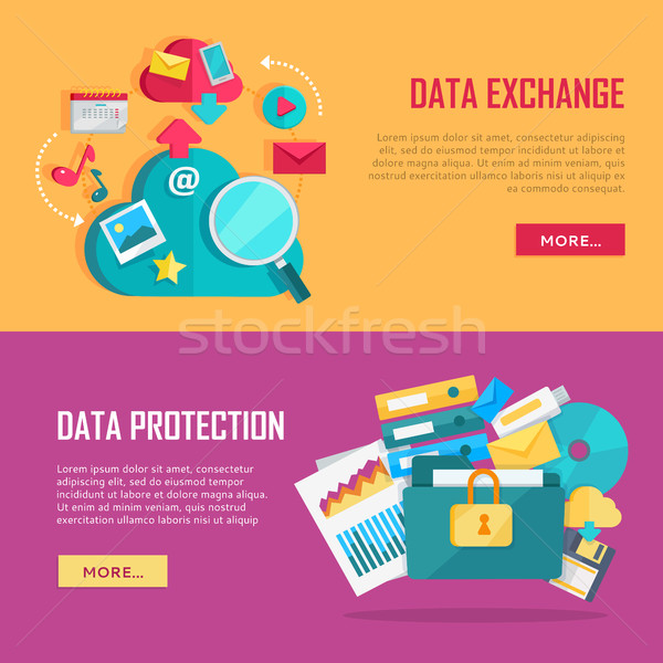 Data Exchange and Protection Banners Set Stock photo © robuart