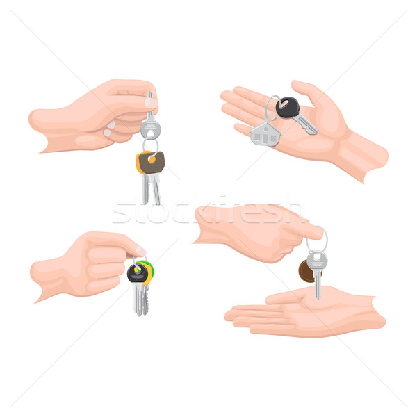 Hands Passing Keys to Another Human Arms Set. Stock photo © robuart