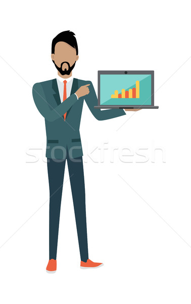Man Demonstrating Chart on the Laptop. SEO Concept Stock photo © robuart