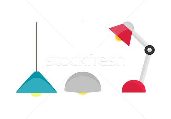 комнату осветительное оборудование потолок свет таблице лампы Сток-фото © robuart