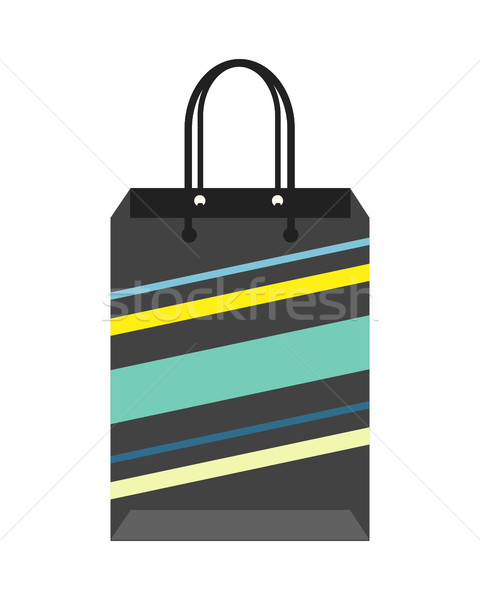 Noir rayé Shopping paquet papier Photo stock © robuart