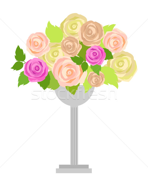 Wedding Bouquet of Pink, White and Green Roses Stock photo © robuart