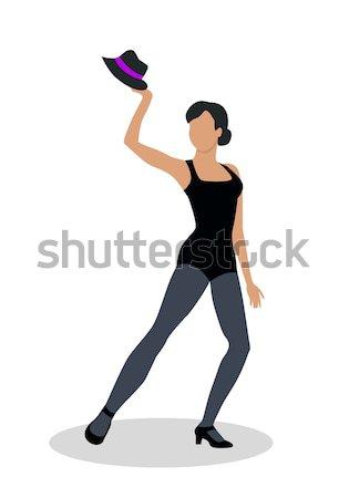 Dzsessz táncos fekete kalap tánc zene Stock fotó © robuart