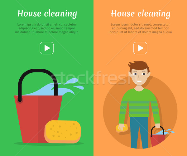 Set of Cleaning Service Flat Style Web Banners Stock photo © robuart