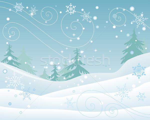 Kış orman manzara dizayn vektör ladin Stok fotoğraf © robuart