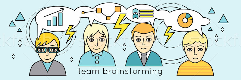 Team Brainstorming Vector Concept in Flat Design. Stock photo © robuart