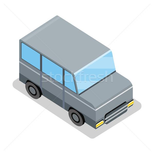 ストックフォト: アイソメトリック · グレー · ジープ · アイコン · 市 · 車