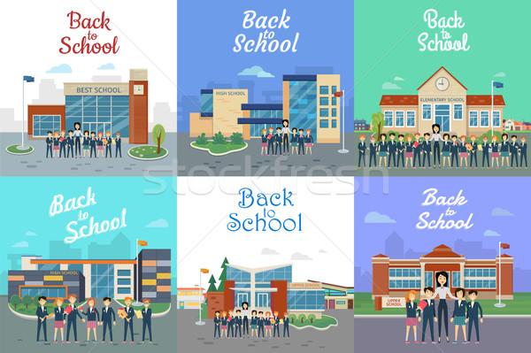 Icônes différent bâtiment type école Photo stock © robuart