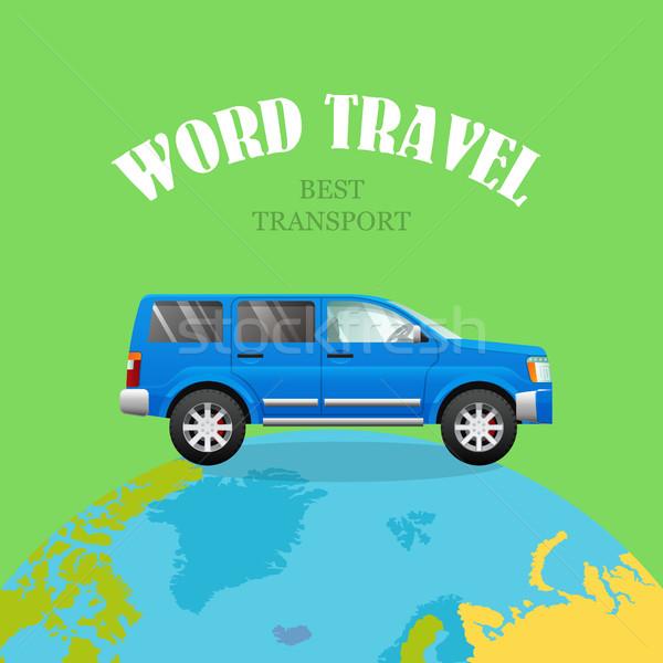 Kék autó bolygó zöld világutazás legjobb Stock fotó © robuart
